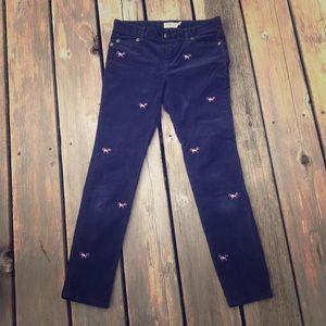 Navy Corduroy Vineyard Vineyard embroidered pants